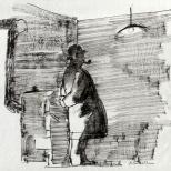 bozzetto di Maigret per la copertina Inchieste del commissario