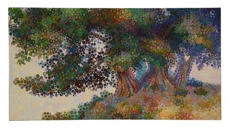 Albero orientale Aftab Ahmed olio su tela