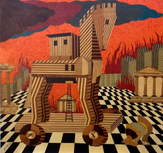 Incendio di Troia,1999.103x95cmrid