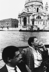 Emilio Tadini 006 ph.MariaMulas, con Gianni Colombo, 1985