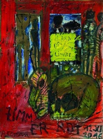 Renzo Ferrari, Zimmer rossa e memento, 2016, olio su carta, 32x24 cmrid